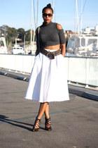 navy Janette Fashion top - navy Zara heels - navy thrifted belt