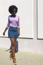 Light-purple-banana-republic-top-blue-zara-skirt