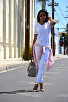 white menswear H&M t-shirt - light pink Ralph Lauren blouse - tan Aldo sandals