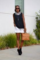 white banana republic shorts - black silk thrifted vest - white H&M top