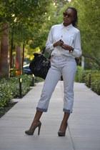 off white vintage blouse - silver Levis jeans