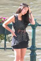 Forever 21 top - Bershka shirt - thailand belt - Urban Outfitters hair accessory