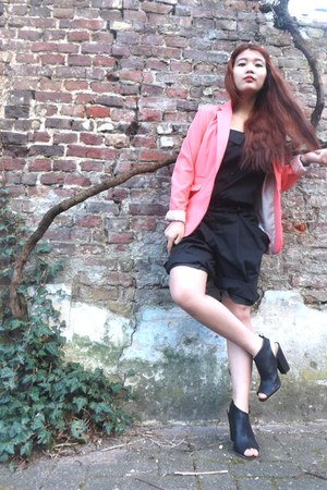 H&amp;M blazer - H&amp;M heels - China romper - DIY hair accessory