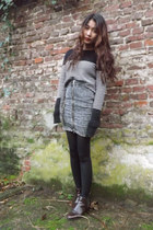 H&M skirt - Zara boots - Primark tights - Zara jumper