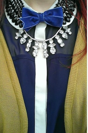 bow H&M tie - beaded collar M&S Collections shirt - H&M necklace