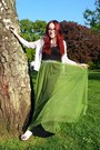 Black-maxi-h-m-dress-olive-green-maxi-oasap-skirt