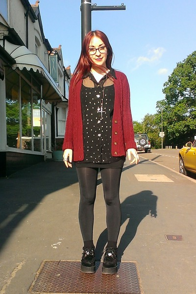 black sheer gold spot vintage shirt - ruby red cable knit Primark cardigan