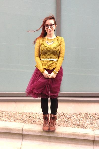dark brown leopard print Next kids boots - chartreuse lace peplum H&M top
