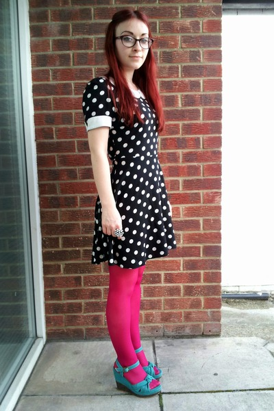 black polka dot new look dress - hot pink H&M tights - teal Asda wedges