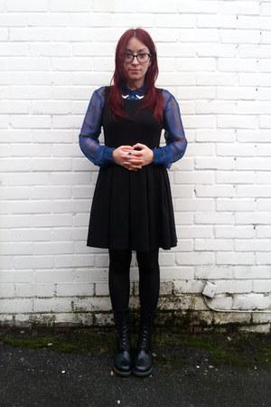 black pinafore H&M dress - black wingtip Dr Martens boots - blue sheer H&M shirt