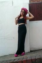 black maxi H&M dress - hot pink straw cat ear OASAP hat - black crop Primark top