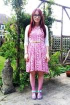 silver jelly JuJu Footwear shoes - hot pink zebra print H&M dress