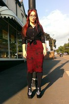 black sheer people shirt - ruby red skull print Ebay skirt