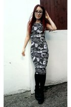 white cartoon print Primark dress - black wedge high top Ebay sneakers
