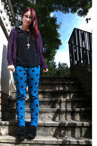 teal polka dot Primark kids jeans - black creepers Ebay shoes