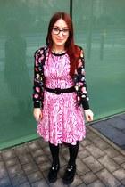 black creepers Ebay shoes - hot pink zebra print H&M dress