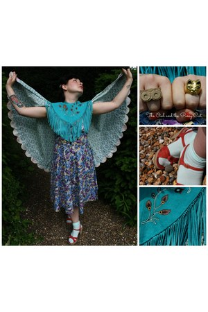 teal Beyond Retro cape - sky blue floral cape handmade cape