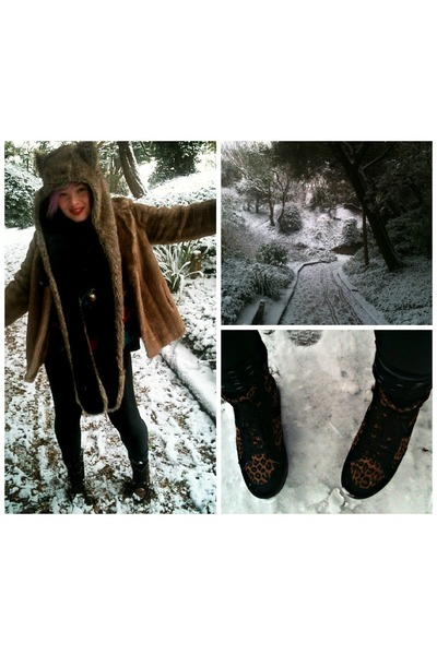 tan faux fur vintage coat - dark brown leopard print Office boots