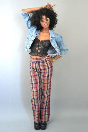 denim jean vintage jacket - vintage bra - vintage pants