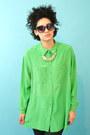 Vintage-inspired-necklace-lime-green-silk-vintage-liz-claiborne-blouse
