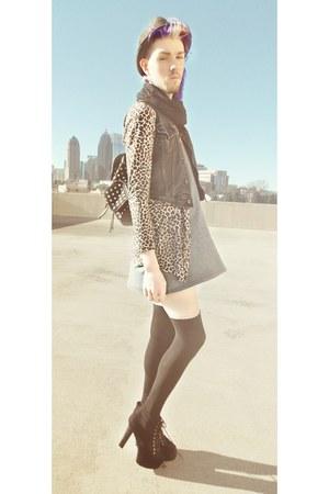 heather gray mini dress H&M dress - black polka dot Forever 21 bag