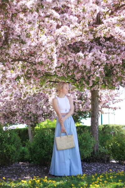 white crop top free people top - sky blue chambray maxi Pistola Denim skirt