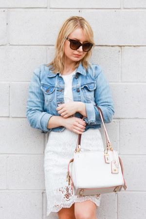white lace lulus dress - Old Navy jacket - coach bag