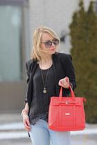 coral bag Pinkstix bag - cropped jeans garage jeans - Zara blazer