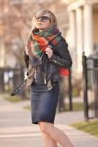 Guess skirt - biker Zara jacket - plaid Zara scarf - coral Pinkstix bag