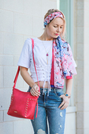 blue Zara jeans - hot pink Pinkstix bag - white Zara top