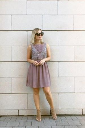 mauve Doe & Rae dress - audrey Celine sunglasses - caged heels Lulus heels