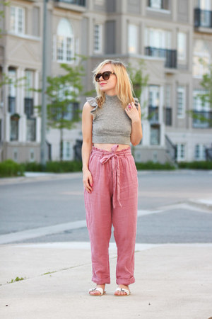 pink free people pants - ruffles free people top - Joe Fresh sandals