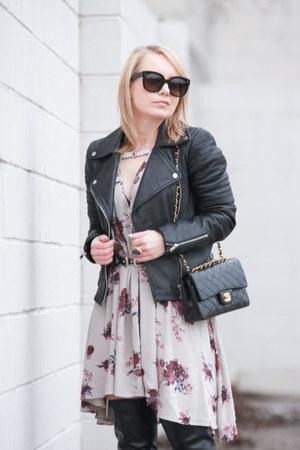 Chanel bag - otk Nine West boots - floral print free people dress