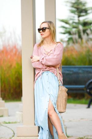 light pink lace up Guess sweater - beige Aldo boots - tan crossbody Pinkstix bag