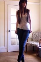 forever 21 vest - vintage top - PacSun jeans - H&M hat