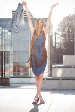 brown fringed Forever 21 vest - blue denim dress new look dress