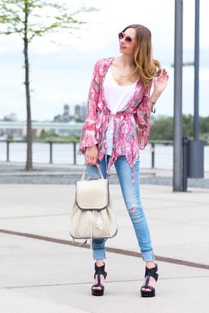 hot pink bohemian Zara blouse - sky blue skinny jeans Zara jeans