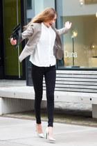 white asos blouse - black skinny jeans Zara jeans