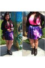 Hot-pink-h-m-top-purple-skirt-black-black-vintage-belt