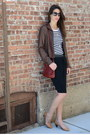 Dark-brown-leather-h-m-jacket-brick-red-h-m-bag-black-kate-spade-sunglasses