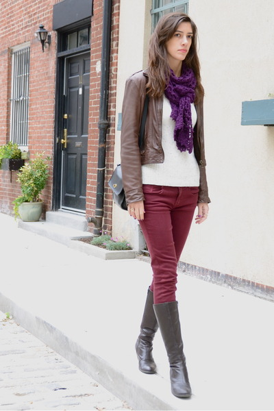crimson oxblood Zara jeans - dark brown Born On Concept boots