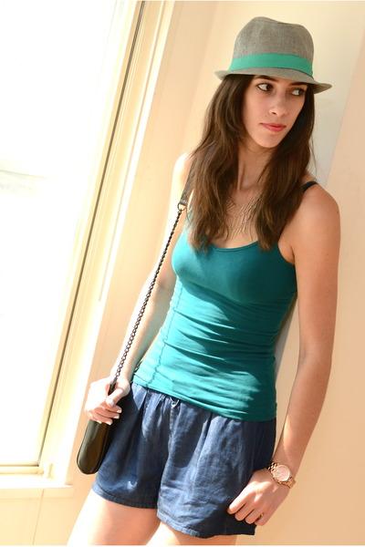 teal Forever 21 top - heather gray H&M hat - black leopard Rebecca Minkoff bag