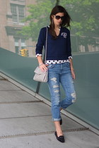 navy vintage sweater - blue ripped Zara jeans