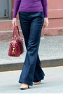 Navy-wide-leg-vince-jeans-purple-h-m-sweater-yellow-cashmere-uniqlo-scarf