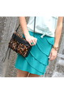 Teal-anthropologie-skirt-bronze-leopard-print-rebecca-minkoff-bag