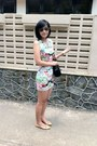Peach-studs-shoes-aquamarine-floral-dress-black-bag-camel-sunglasses