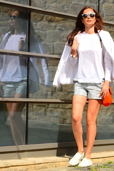 H&M jacket - leather Nanette Lepore shorts - Ray Ban sunglasses - COS blouse