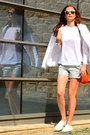 H-m-jacket-leather-nanette-lepore-shorts-ray-ban-sunglasses-cos-blouse