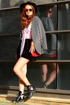 polka dot H&M jacket - cut-out balenciaga boots - Marc by Marc Jacobs bag