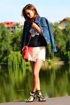black and white Zara sweatshirt - denim Levis jacket - red Chanel bag
